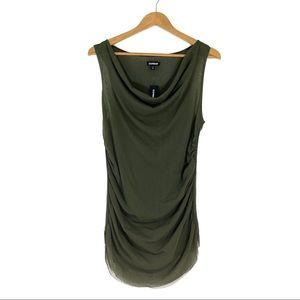 Express Women's Medium Green Mesh Cowl Neck Top